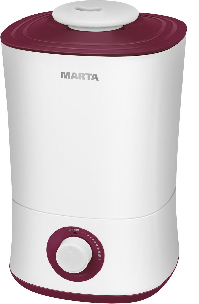 Marta MT-2687, White Burgundy Garnet увлажнитель воздухаMT-2687Увлажнитель воздуха MT-2687 бесшумно нормализует уровень влажности в помещении до идеального уровня. Вы почувствуете разницу очень скоро, ведь от уровня влажности зависит и степень вашей работоспособности, и качество отдыха.Плавная регулировка интенсивности увлажнения позволяет создавать необходимый именно вам микроклимат, как дома, так и в офисе. MT-2687 оснащен вместительным 4-литровым резервуаром. При расходе воды всего 240 мл/ч, такой объем позволяет поддерживать комфортные условия в жилом помещении на протяжении суток.Удобное и простое управление осуществляется при помощи вращаемого регулятора со светодиодной индикацией работы и нехватки воды. Кроме того, вы можете использовать картридж арома-фильтра для насыщения воздуха вашим любимым ароматом.