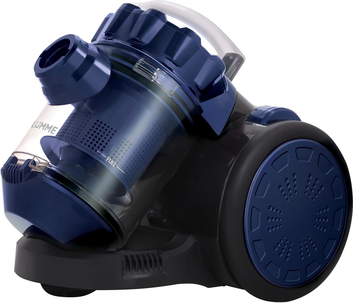 Lumme LU-3208, Black Blue пылесосLU-32082200W телескопическая металическая трубка, насадки: для пола и ковра, для углов, для мягкой мебели, мощность всасывания 300W/, шнур 3,2 метра, контейнер для сбора пыли - 2литра