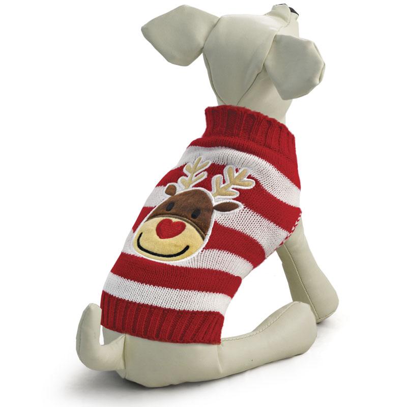 Свитер для собак Triol Олененок, унисекс, цвет: красный, белый. Размер XXL