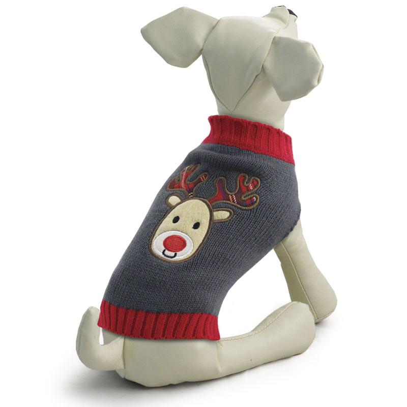Свитер для собак Triol Олененок, унисекс, цвет: серый. Размер M сапоги резиновые для собак triol унисекс цвет синий размер m