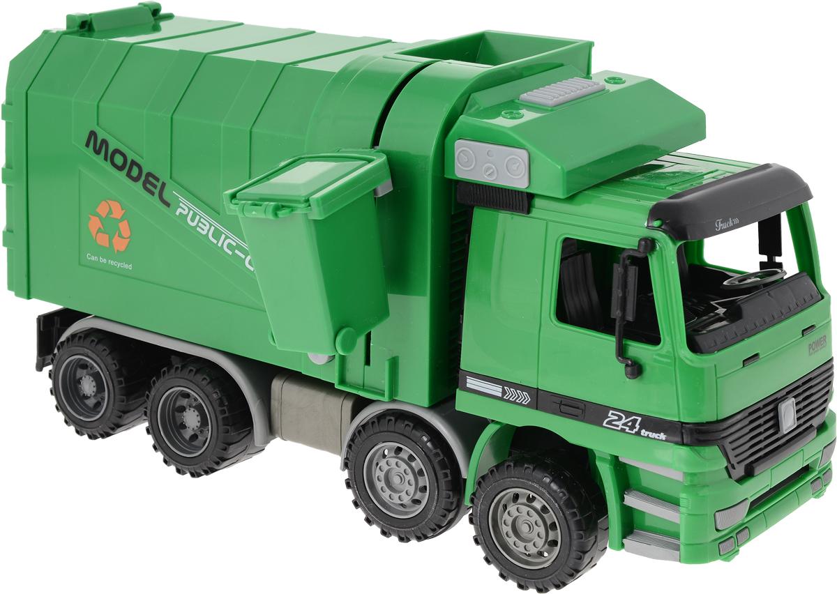 Big Motors Мусоровоз Чистюля цвет темно-зеленый big motors пожарная машина с лестницей