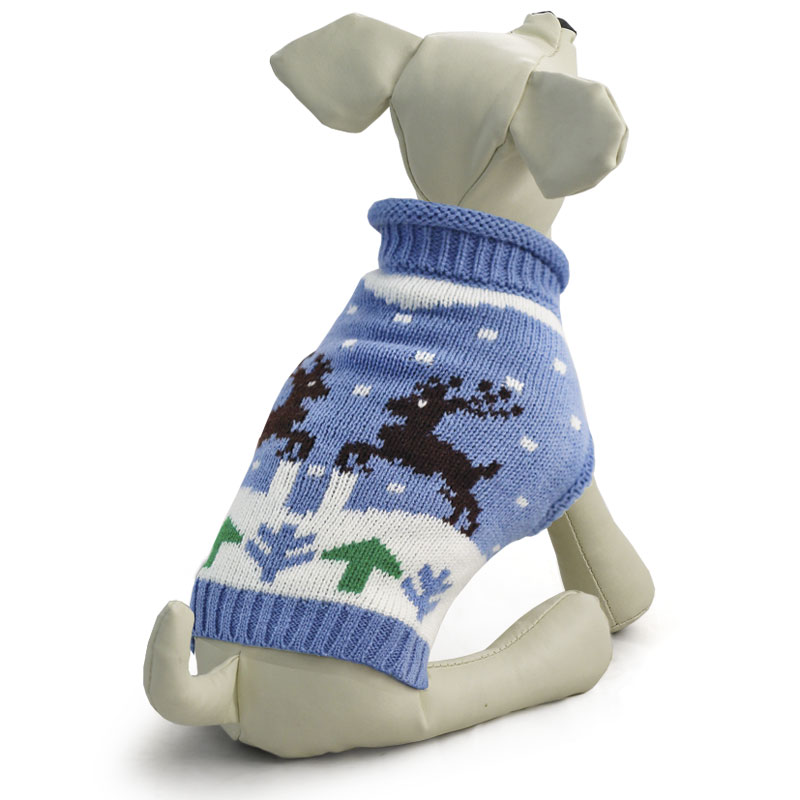 Свитер для собак Triol Олени, унисекс, цвет: голубой. Размер XXL цена
