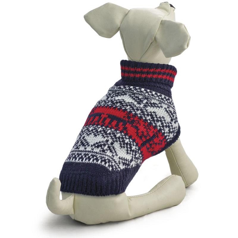Свитер для собак Tirol Орнамент, унисекс, цвет: черный, белый. Размер XL12271420Теплый и оригинальный свитер с орнаментом Tirol - это удобный и функциональный аксессуар для собак, который просто незаменим в холодную погоду. Изделие защитит вашего питомца от ветра и согреет в непогоду. Свитер имеет стильный дизайн, а универсальный фасон не стесняет движений питомца во время прогулки. Такой свитер с модным принтом станет украшением гардероба вашего питомца. Длина спины: 40 см.Одежда для собак: нужна ли она и как её выбрать. Статья OZON Гид