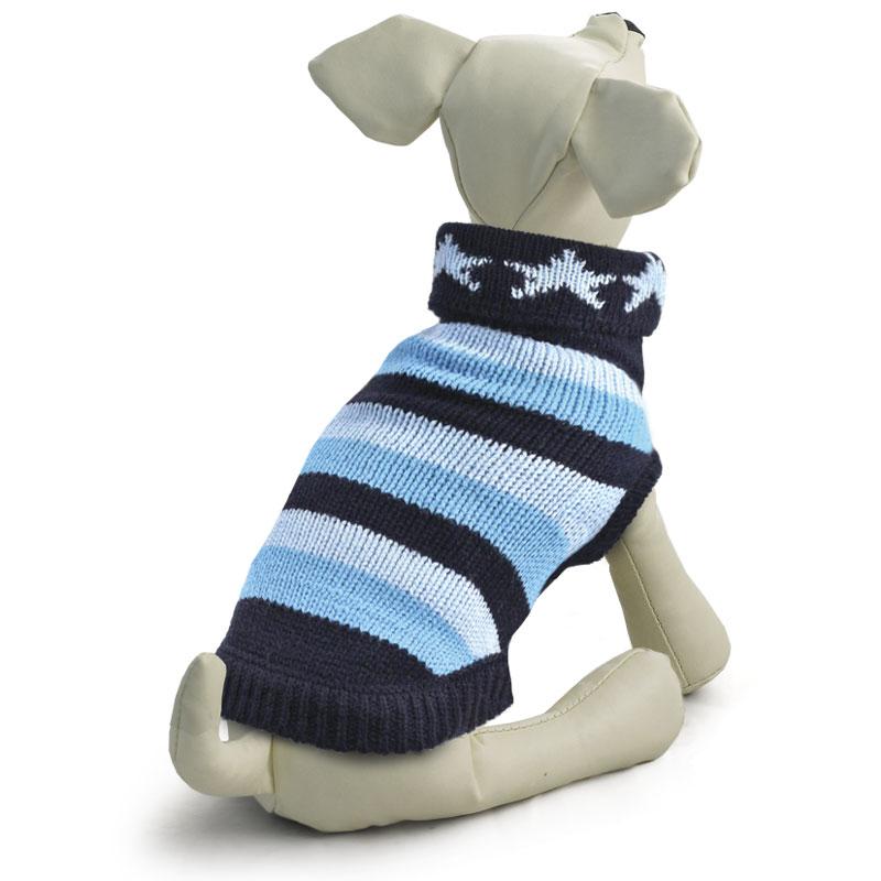 Свитер для собак Tirol Звезды, цвет: синий, голубой. Размер M12271424Теплый и оригинальный свитер с орнаментом - это удобный и функциональный аксессуар для собак, который просто незаменим в холодную погоду. Изделие защитит вашего питомца от ветра и согреет в непогоду. Свитер имеет стильный дизайн, а универсальный фасон не стесняет движений питомца во время прогулки. Такой свитер с модным принтом станет украшением гардероба вашего питомца. Материал: акрил. Цвет: сине-голубой. Размер: 30 см (M).