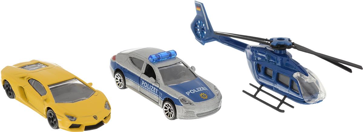 Majorette Набор машинок Полицейская погоня цвет синий серый желтый 3 шт форма дорожная машина цвет синий желтый