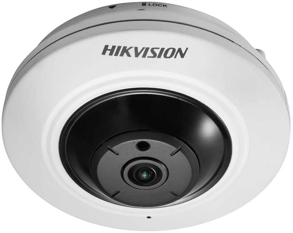 Hikvision DS-2CD2942F камера видеонаблюдения2905334Мп fisheye IP-камера1/3 Progressive Scan CMOS; fisheye объектив 1.6мм; угол обзора по гор.:186°, по верт.:106°; электронный ИК-фильтр; 0.01лк@F1.2; сжатие H.264/MJPEG; один поток; 2560?1440@12.5к/с, 1920?1080@25к/с; 3D DNR; обнаружение движения, вторжения в область и пересечения линии; слот для microSD до 128Гб; 1 RJ45 10M/100M Ethernet; DC12В± 10%/PoE(802.3af); 5.55Вт макс; -10 °C...+60 °C; вес 0.6кг.