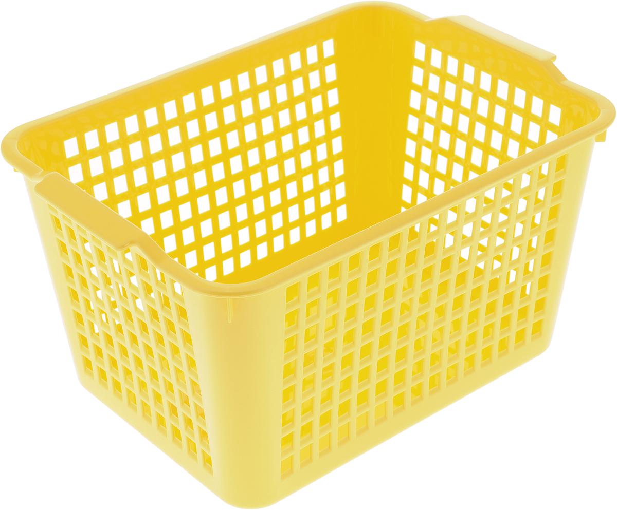 Корзинка Econova, цвет: желтый, 27 х 19 х 14,5 см718341_желтыйКорзинка Econova, изготовленная из высококачественного прочного пластика,предназначена для хранения мелочей в ванной, на кухне, даче или гараже.Изделие оснащено двумя удобными ручками. Это легкая корзина со сплошным дном, жесткой кромкой и небольшимиотверстиями позволяет хранить мелкие вещи, исключая возможность их потери.