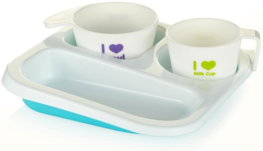 Farlin Набор посуды для кормления цвет голубой 3 предмета
