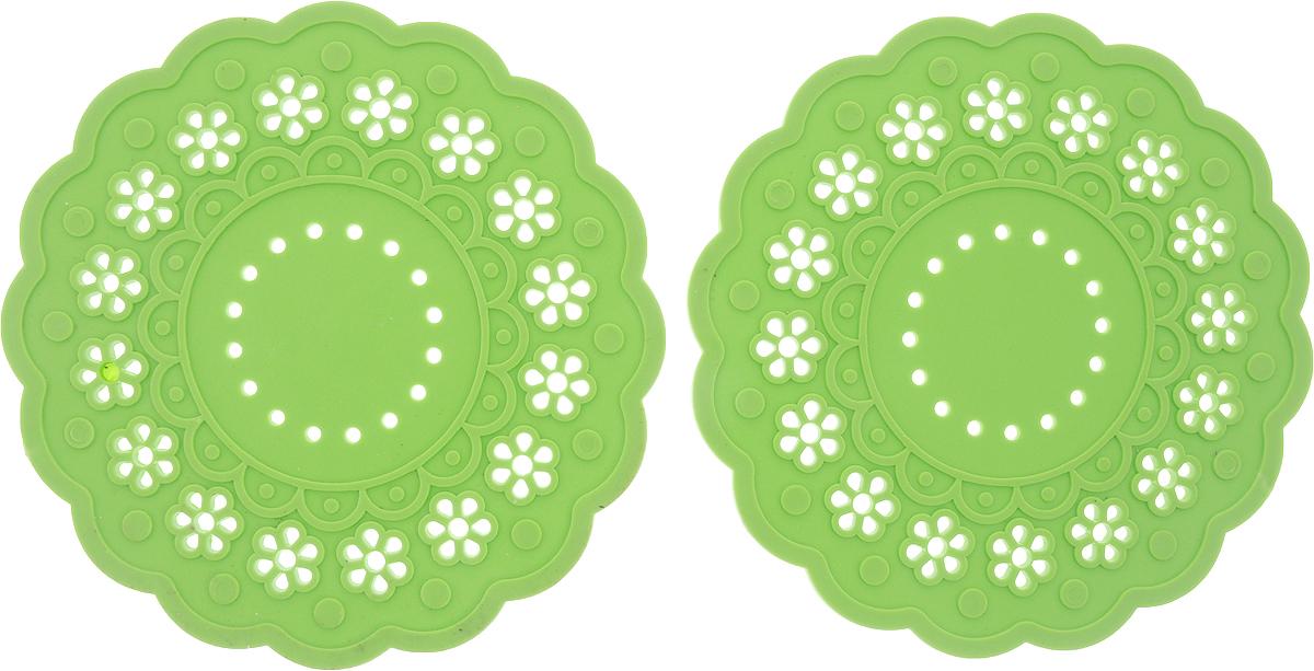 Набор подставок под горячее Доляна Затея, цвет: салатовый, 2 шт1153294_салатовыйСиликоновая подставка под горячее - практичный предмет, который обязательно пригодится в хозяйстве. Изделие поможет сберечь столы, тумбы, скатерти и клеёнки от повреждения нагретыми сковородами, кастрюлями, чайниками и тарелками.Диаметр 15 см.