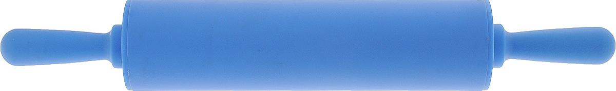 Скалка Доляна Севилья, цвет: голубой, 30 х 4 см851317Скалка - необходимый на кухне предмет. Изделие из силикона представляет собой усовершенствованную версию привычного инструмента. Яркий дизайн делает предмет украшением арсенала каждого повара. Готовку облегчают удобные ручки.