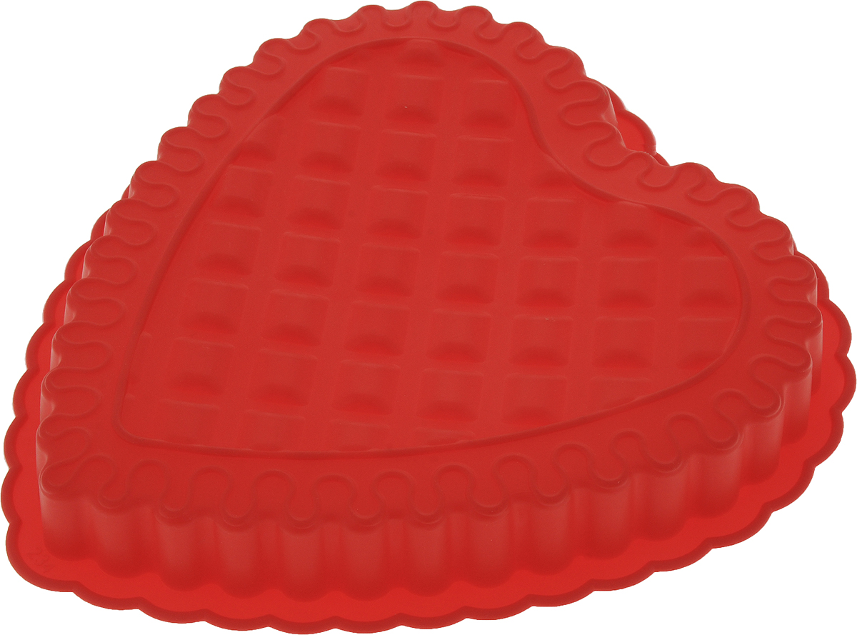 Форма для выпечки Доляна Сердце рифленое, цвет: красный, 25 х 24 х 4 см651933_красныйФорма для выпечки Доляна Сердце рифленое,, 25 х 24 х 4 см