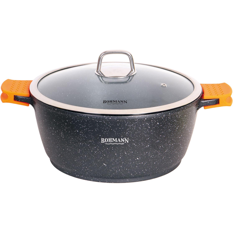 Кастрюля Bohmann с крышкой, с мраморным покрытием, цвет: черный, 2,2 л. 7350-20MRB чайник заварочный bohmann 1 1 л 7350 20mrb