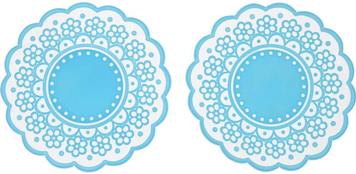 Набор подставок под горячее Доляна Авангард, цвет: голубой, диаметр 12 см, 2 шт812073_голубойСиликоновая подставка под горячее - практичный предмет, который обязательнопригодится в хозяйстве. Изделие поможет сберечь столы, тумбы, скатерти иклеёнки от повреждения нагретыми сковородами, кастрюлями, чайниками итарелками.