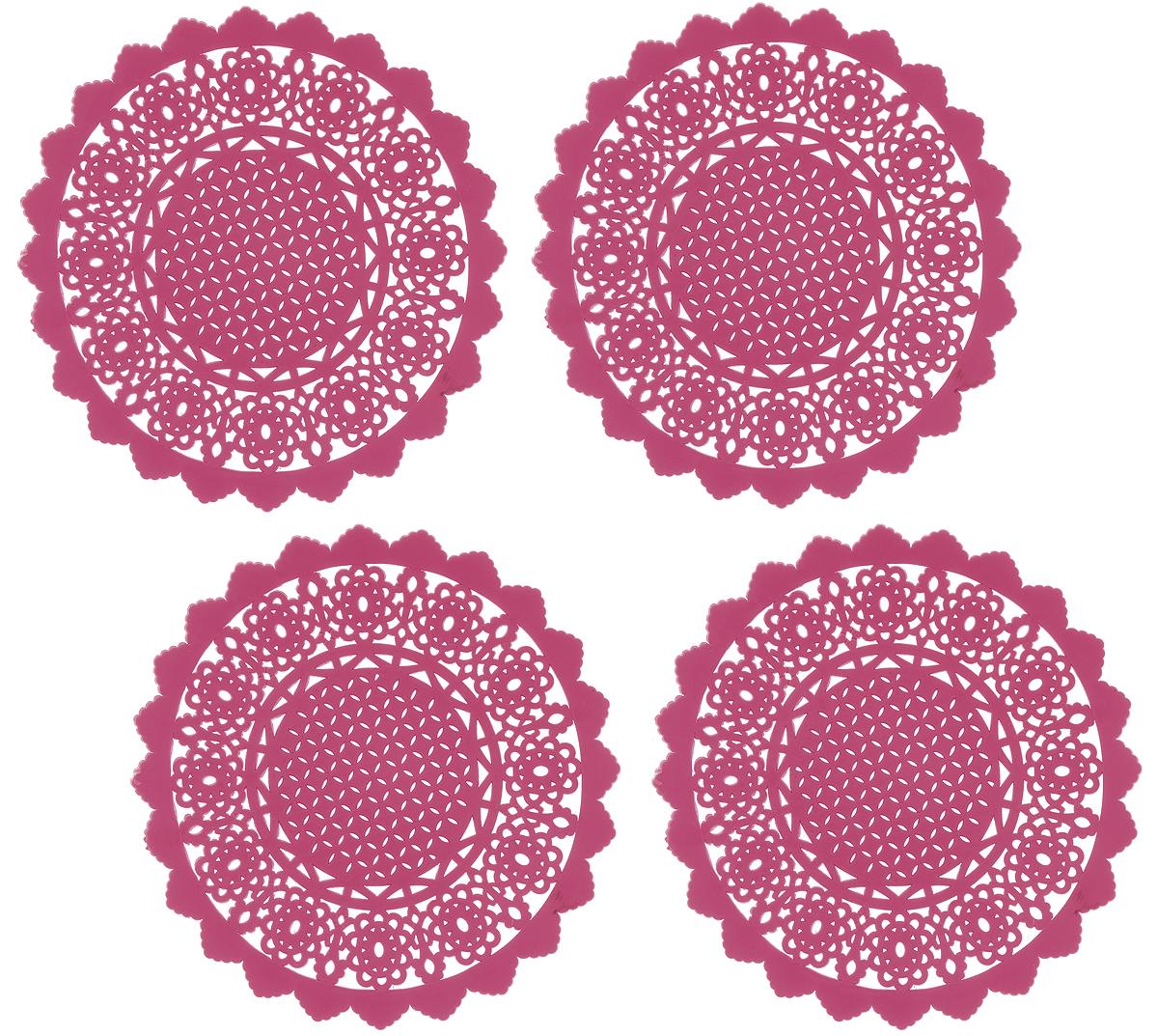 Набор подставок под горячее Доляна Ажур, цвет: коралловый, диаметр 10 см, 4 шт939019_коралловыйНабор Доляна Ажур состоит из 4 силиконовых подставок под горячее. Силиконовая подставка под горячее - практичный предмет, который обязательно пригодится в хозяйстве. Изделие поможет сберечь столы, тумбы, скатерти и клеёнки от повреждения нагретыми сковородами, кастрюлями, чайниками и тарелками.