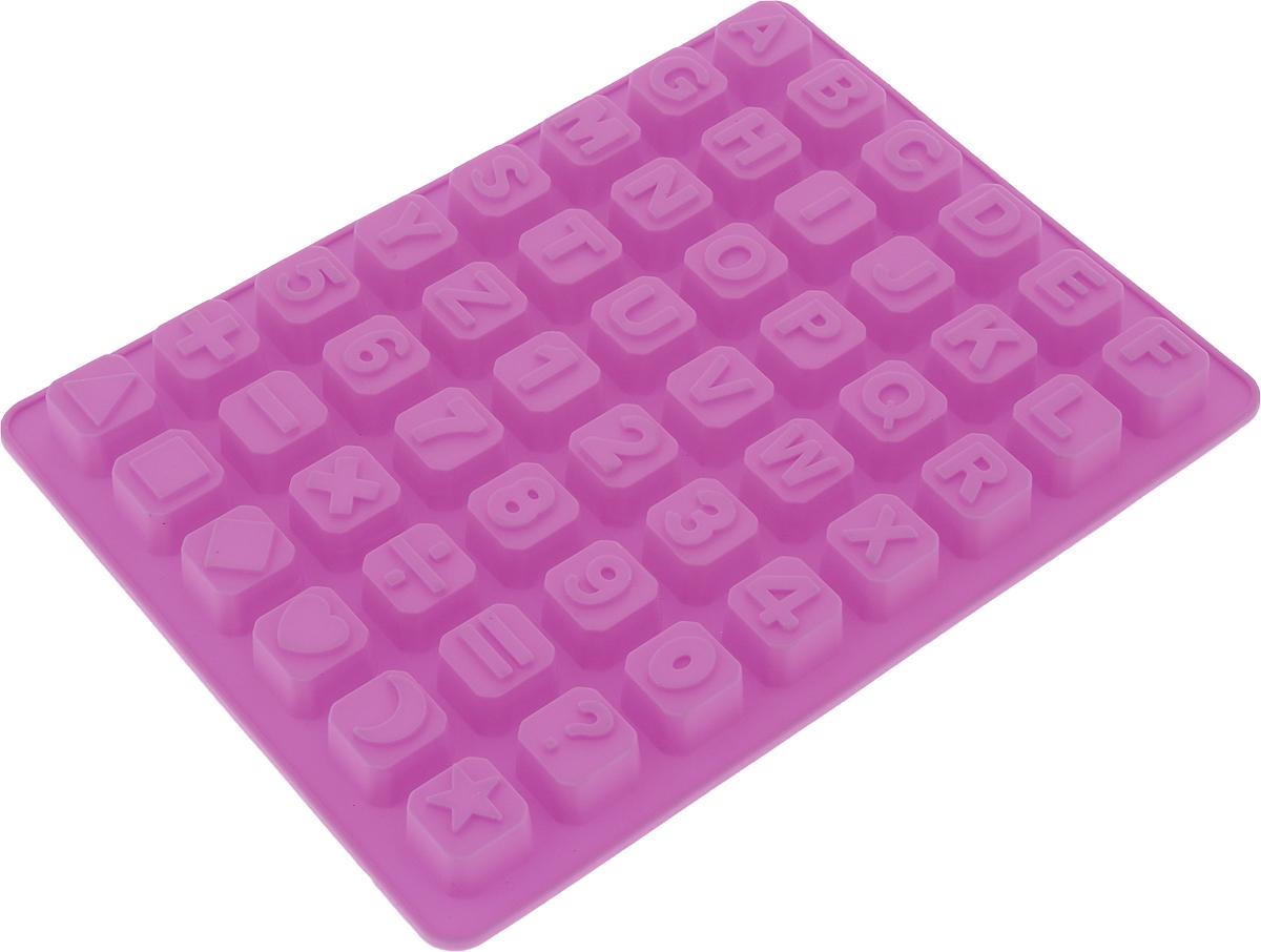 Форма для льда и шоколада Доляна Английский алфавит, цвет: розовый, 48 ячеек, 23,5 х 18 х 1,6 см702610_розовыйФигурная форма для льда и шоколада Доляна Английский алфавит выполнена из пищевого силикона, который не впитывает запахов, отличается прочностью и долговечностью. Материал полностью безопасен для продуктов питания. Кроме того, силикон выдерживает температуру от -40°С до +250°С, что позволяет использовать форму в духовом шкафу и морозильной камере. Благодаря гибкости материала готовый продукт легко вынимается и не крошится. С помощью такой формы можно приготовить оригинальные конфеты и фигурный лед. Приготовить миниатюрные украшения гораздо проще, чем кажется. Наполните силиконовую емкость расплавленным шоколадом, мастикой или водой и поместите в морозильную камеру. Вскоре у вас будут оригинальные фигурки, которые сделают запоминающимся любой праздничный стол! В формах можно заморозить сок или приготовить мини-порции мороженого, желе, шоколада или другого десерта. Особенно эффектно выглядят льдинки с замороженными внутри ягодами или дольками фруктов. Заморозив настой из трав, можно использовать его в косметологических целях. Форма легко отмывается, в том числе в посудомоечной машине.