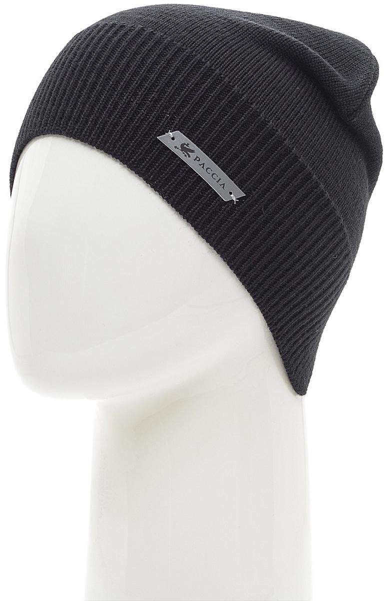 Шапка женская Paccia, цвет: черный. NR-21703-1. Размер 55/58NR-21703-1Женская шапка-бини Paccia выполнена из шерсти с добавлением акрила. Эта шапка не только согреет в холодную погоду, но и стильно дополнит ваш образ.