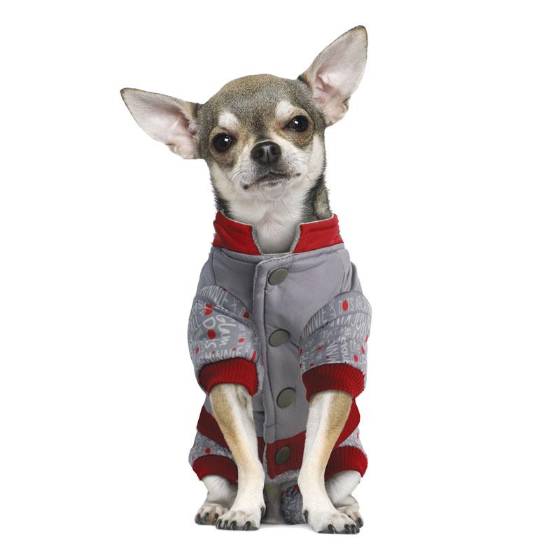 Комбинезон для собак Triol  Minnie-2 , зимний, для девочки, цвет: серый, красный. Размер S - Одежда, обувь, украшения