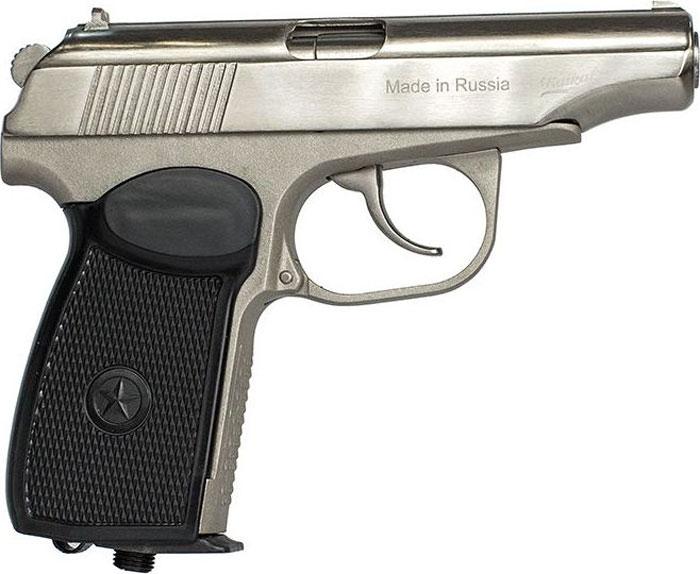 Пистолет пневматический Калашников, с обновленной рукояткой. МР-654К84190Пневматический пистолет МР-654К является газобаллонным пневматическим оружием, использующим стандартные 12г баллоны с СО2 и 4.5мм пульки. Пистолет создан на основе знаменитого пистолета Макарова ПМ и полностью повторяет его внешне и по основным приемам в обращении и стрельбе. Может использоваться для начального обучения и развлекательной стрельбы. Пистолет находится в свободной продаже, не требует для приобретения никаких лицензий и сертификатов.