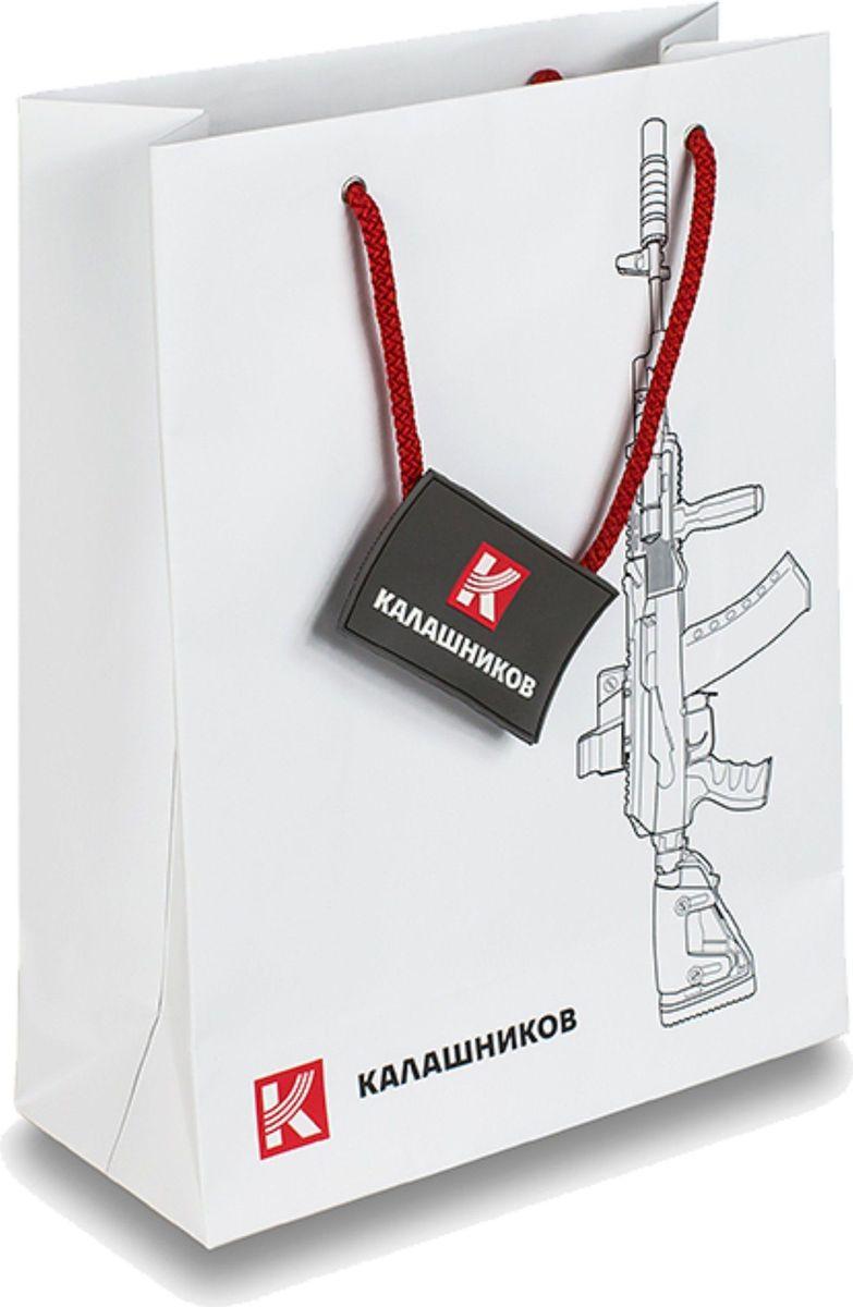 Пакет бумажный (большой) с силуэтом автомата Калашникова и фирменным логотипом.