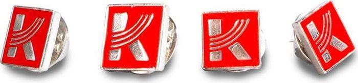 """Сувенирный металлический значок с логотипом концерна """"Калашников"""". Механизм цанга-бабочка обеспечивает надежное крепление значка. Значок можно прикрепить к лацкану пиджака."""