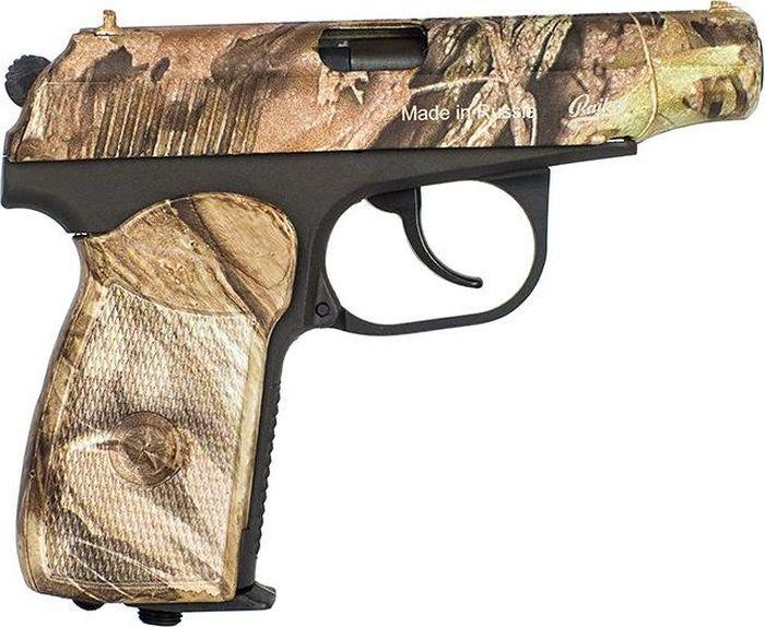 Пистолет пневматический Калашников, с камуфляжным покрытием, обновленная рукоятка. МР-654К-23ОТК000618Пневматический пистолет МР-654К является газобаллонным пневматическим оружием, использующим стандартные 12г баллоны с СО2 и 4.5мм пульки. Пистолет создан на основе знаменитого пистолета Макарова ПМ и полностью повторяет его внешне и по основным приемам в обращении и стрельбе. Может использоваться для начального обучения и развлекательной стрельбы. Пистолет находится в свободной продаже, не требует для приобретения никаких лицензий и сертификатов.
