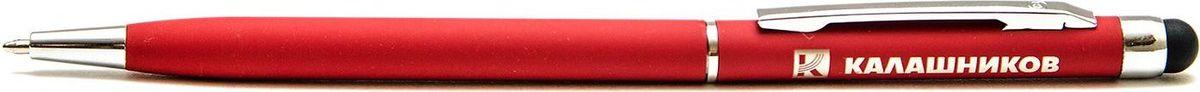 Ручка шариковая Калашников, со стилусомОТК000737Автоматическая шариковая ручка. Стильная ручка красного цвета, с логотипом Калашников. С обратной стороны ручки – встроенный емкостной стилус. Материал корпуса – пластик, с покрытием софт-тач. Цвет чернил – синий. Стержень сменный.