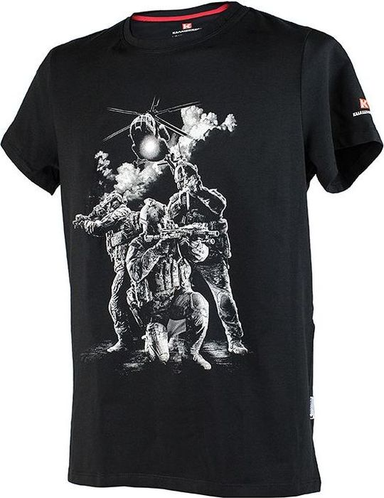 футболка калашников фирменная мужская футболка калашников принт 3 черная l Футболка мужская Калашников Принт №3, цвет: черный. ОТК000025. Размер XL (52)