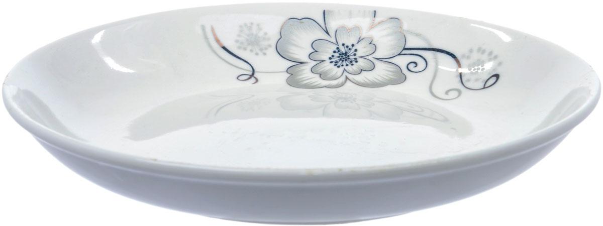 Тарелка глубокая Ningbo Royal Серый цветок, диаметр 20 см посуда из фарфора оптом