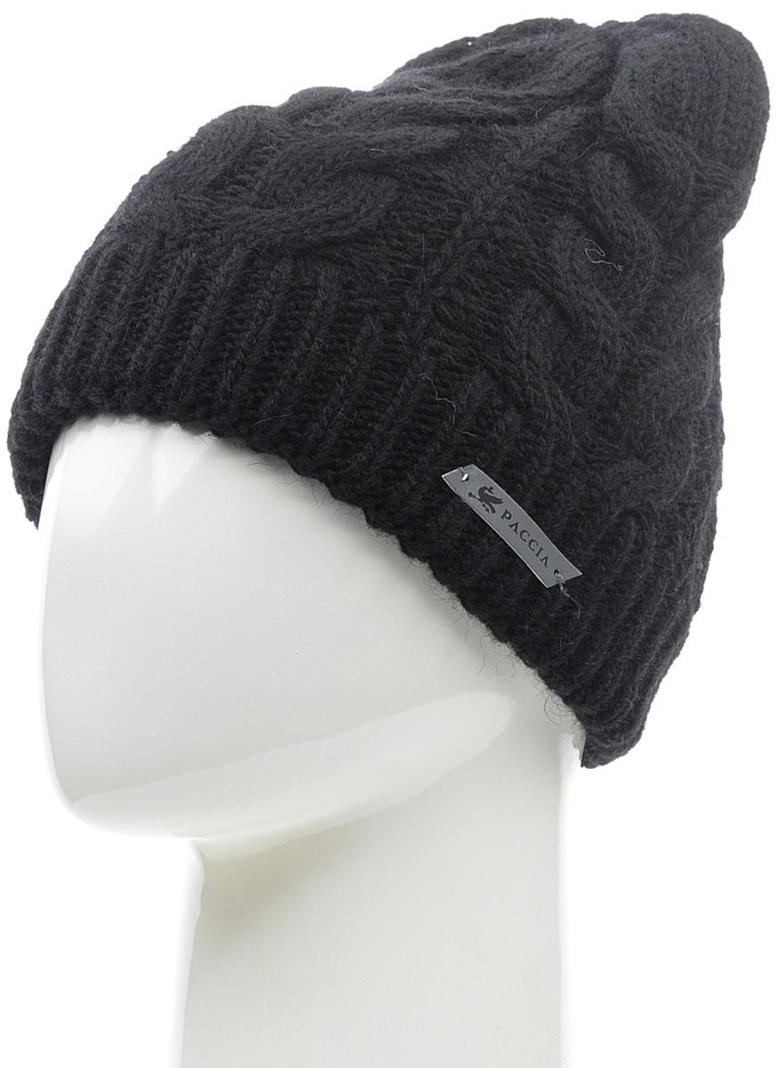 Шапка женская Paccia, цвет: черный. NR-21704-3. Размер 55/58NR-21704-3Вязаная женская шапка Paccia выполнена из акрила с добавлением шерсти и дополнена принтом из кос. Эта шапка не только согреет в холодную погоду, но и стильно дополнит ваш образ.