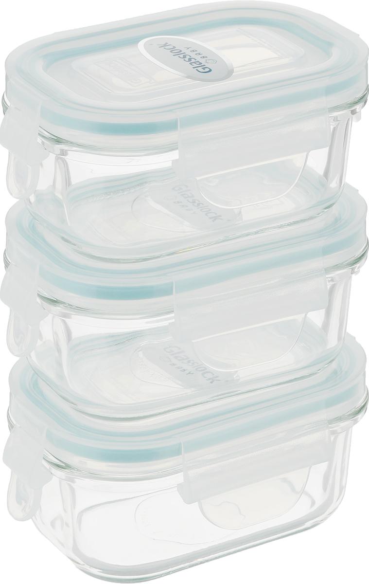 """Набор стеклянных контейнеров """"Glasslock"""" предназначен для хранения пищи и выполнен с герметичной крышкой с креплениями.  Объем каждого контейнера 150 мл.  Практичные замки-защелки обеспечивают 100% герметичность, что не позволяет бактериям проникать внутрь контейнера, что идеально подходит для детского питания.  Не содержат бисфенол-А.  Продукты долгое время сохраняют свою свежесть.  Удобная силиконовая ложка в комплекте.  Можно использовать в духовке, СВЧ-печах, холодильниках, посудомоечных машинах, морозильных камерах.  Легко моются."""