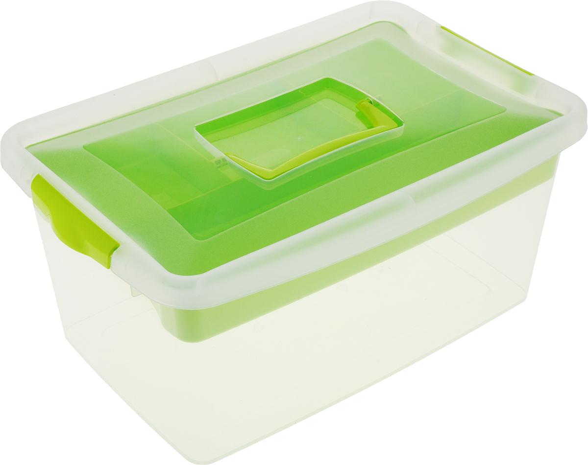 """Контейнер для хранения """"Idea"""" выполнен из высококачественного полипропилена. Изделие оснащено двумя  пластиковыми фиксаторами по бокам, придающими дополнительную надежность закрывания крышки.  Вместительный контейнер позволит сохранить различные нужные вещи в порядке, а герметичная крышка  предотвратит случайное открывание, защитит содержимое от пыли и грязи. Внутри имеется съемный вкладыш с  одним большим отделением и тремя поменьше.  Объем: 9 л.  Размер контейнера (с учетом крышки): 37 х 24 х 16,5 см.  Уважаемые клиенты!  Обращаем ваше внимание на возможные изменения в цвете некоторых деталей товара. Поставка осуществляется  в зависимости от наличия на складе."""
