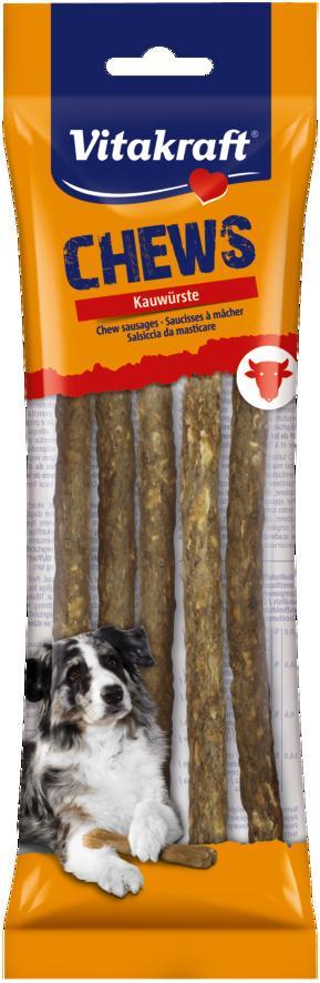 Лакомство для собак Vitakraft Chews, жевательные палочки, натуральные, длина 20 см, 5 шт34651Лакомство для собак Vitakraft Chews идеально подходит для ухода за зубами и деснами. Жевательные палочки для собак поддерживают здоровье зубов и дополняют основной рацион.