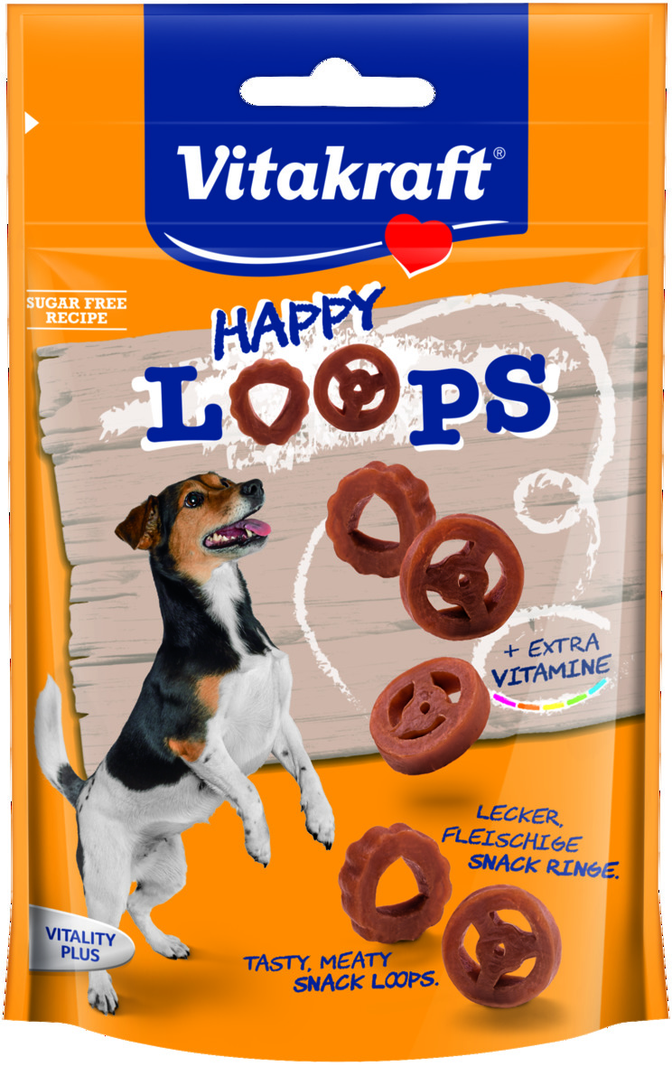 Лакомство для собак Vitakraft  Happy Loops, 90 г34044Мясное лакомство, обогащенное витаминами.Используется в качестве дополнения к основному корму и для поощрения при дрессировке. С низким содержанием жира. Не содержит сахар.