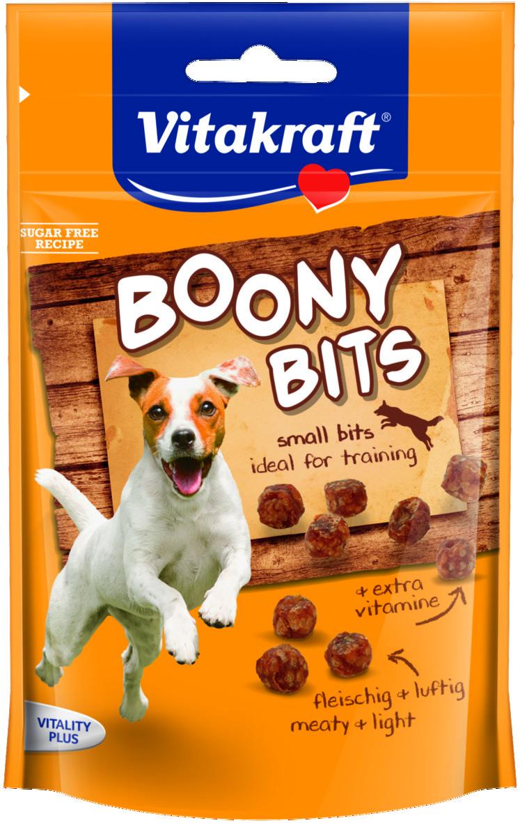 Лакомство для собак Vitakraft Boony Bits, 55 г34049Мясные снеки с ценными витаминами. Идеально подходят в качестве поощрения при обучении. Не оставляют жирных следов и не крошатся. Не содержат сахар. В упаковке до 200 шт. Товар сертифицирован