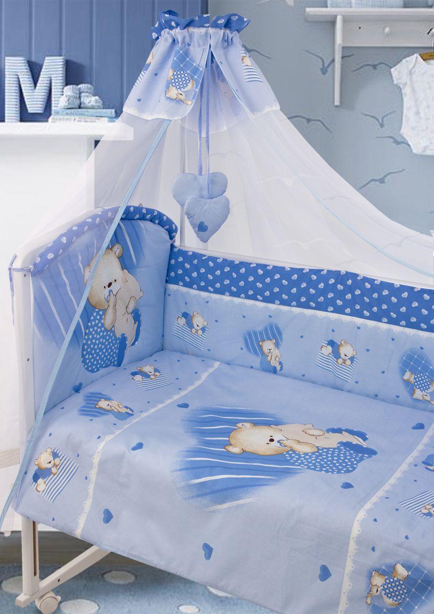 Комплект белья в кроватку Золотой Гусь ТМ Мишутка 7 предметов цвет голубой 60 см x 120 см190Красивый комплект из 7 предметов для детской кроватки. Выполнен из хлопка (бязь), декорирован печатным рисунком медвежонка. В комплект входит - Балдахин-сетка с оборкой и с двумя подвесками-сердечками. Одеяло стеганное. Пододеяльник с печатным рисунком на внешней стороне. Подушка. Наволочка однотонная. Бампер из 4 частей с завязками и отстрочкой, которая придает дополнительный объем и поддерживает форму бортиков и печатным рисунком . Оборотная сторона бампера однотонная. Простыня на резинке. Рекомендован на детскую кроватку 120х60