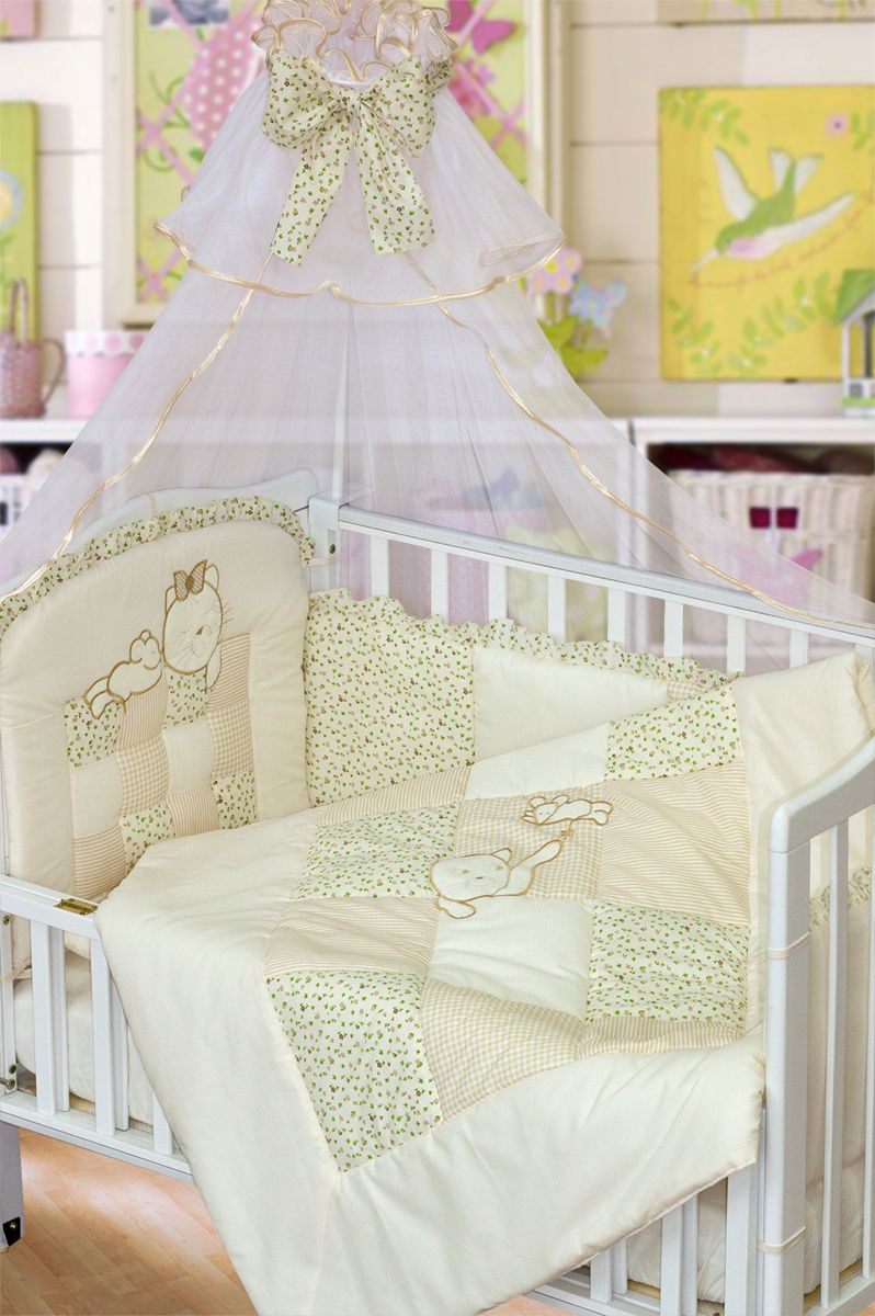 Золотой Гусь Комплект белья для новорожденных Кошки-мышки 7 предметов цвет бежевый