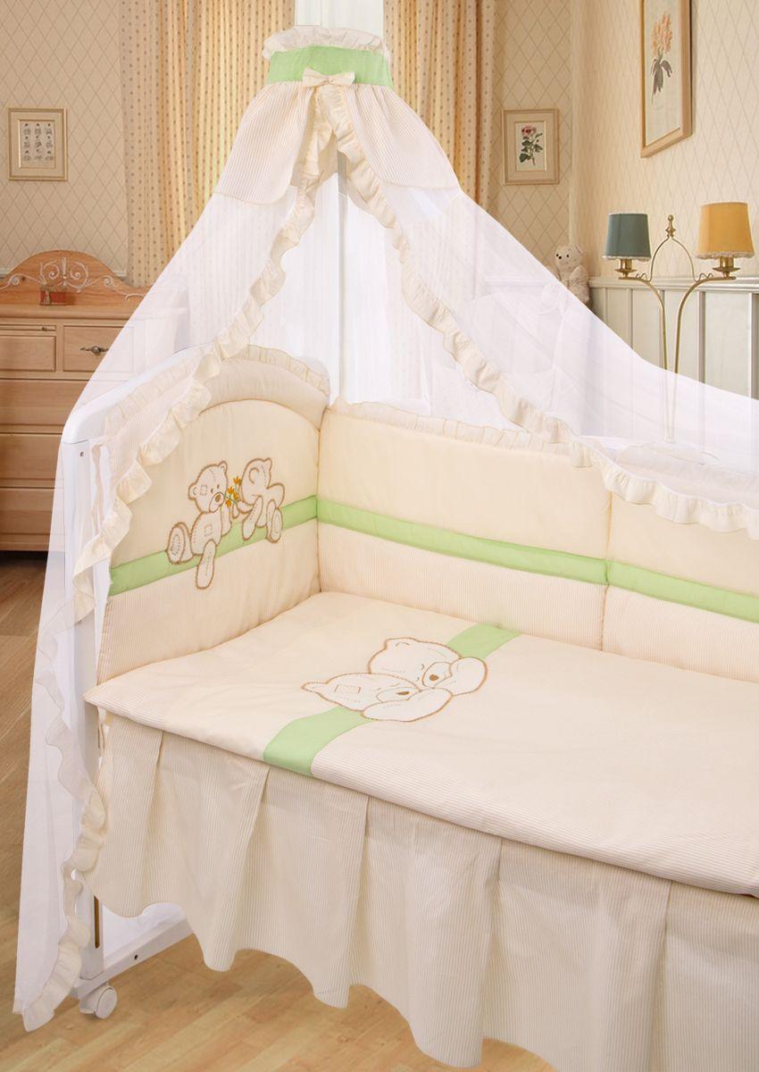 Золотой Гусь Комплект белья для новорожденных Лапушки 8 предметов цвет молочный 60 см x 120 см161Красивый комплект из 8 предметов для детской кроватки выполнен из хлопка (бязи) с аппликацией и вышивкой. В комплекте балдахин-сетка с оборкой и бантиком, стеганное одеяло, пододеяльник с аппликацией и вышивкой на внешней стороне, подушка, наволочка, бампер из 6 частей с завязками с отстрочкой, которая придает дополнительный объем и поддерживает форму бортиков, простыня на резинке, подматрасник-юбка. Бампер декорирован оборкой-рюшей с вышивкой и аппликацией на изголовье.Рекомендован на кровать размером 120х60 см.