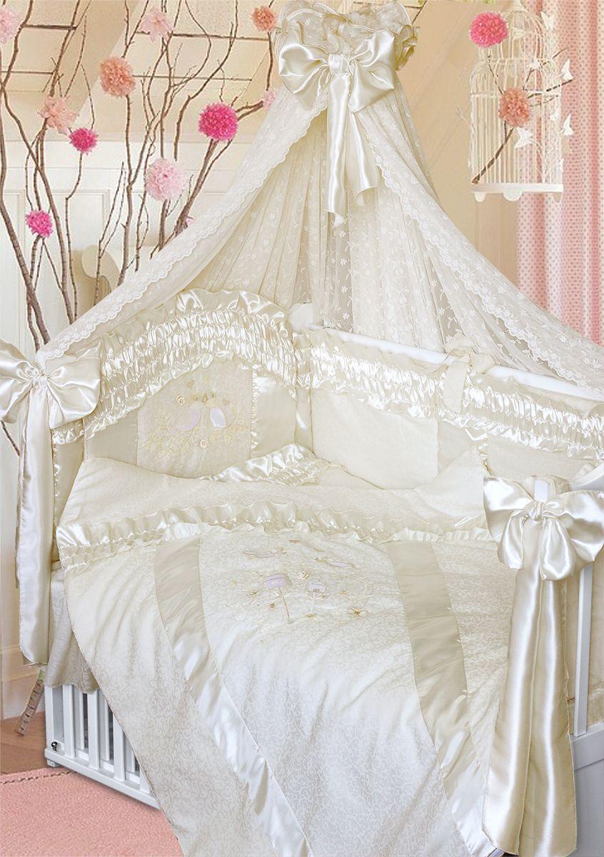 Золотой Гусь Комплект белья для новорожденных Птенчики 10 предметов цвет молочный 65 см x 125 см156Изысканный и нежный комплект в кроватку из сатин-жаккарда с атласными рюшами, с вышитой вуалью и аппликацией. В комплекте: - балдахин-вуаль с вышивкой и атласным бантом; - одеяло стеганное; - пододеяльник на молнии с вышивкой, атласными вставками и рюшей; - подушка; - наволочка с атласной вставкой; - бампер из 4 частей с завязками, декорирован атласными вставками со складками, изголовье с нежной вышивкой птенчиков; отстрочка придает дополнительный объем и поддерживает форму бортиков; - простыня непромокаемая на резинке. Рекомендован на детскую кроватку размером 125х65 см.