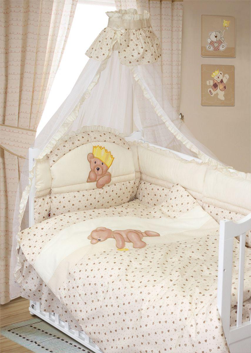 Золотой Гусь Комплект белья в кроватку Мишка-Царь 8 предметов цвет бежевый 60 см x 120 см комплект постельного белья золотой гусь мишка царь 8 пр простыня на резинке девочка розовый