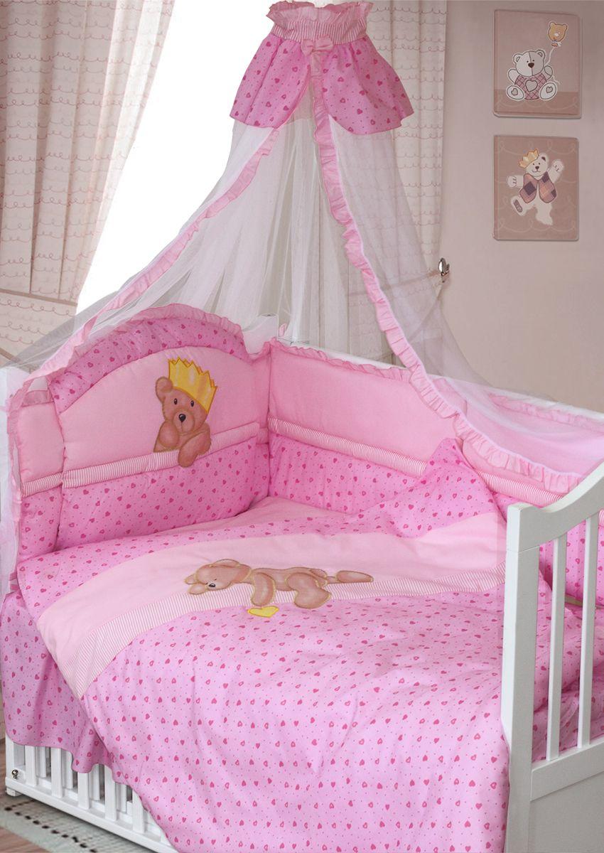 Золотой Гусь Комплект белья для новорожденных Мишка-Царь 8 предметов цвет розовый 60 см x 120 см108Красивый комплект из 8 предметов для детской кроватки выполнен из хлопка (бязи) и декорирован цифровым печатным рисунком медвежонка. В комплекте балдахин-сетка с оборкой и бантиком, стеганное одеяло, пододеяльник с печатным рисунком на внешней стороне, подушка, наволочка, бампер из 6 частей с завязками (декорированный оборкой-рюшей, цифровым печатным рисунком на изголовье и отстрочкой), простыня на резинке, подматрасник-юбка. Рекомендован на кровать размером 120х60 см.