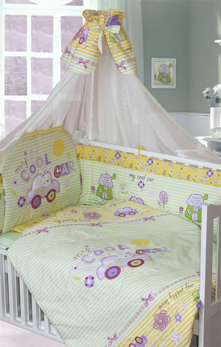 Золотой Гусь Комплект белья для новорожденных Cool Car 7 предметов цвет зеленый124Красивый комплект для детской кроватки из 7 предметов. Выполнен из хлопка (бязи) с забавным рисунком. В комплекте: - Балдахин-сетка с красивой оборкой и бантиком; - Одеяло стеганное; - Пододеяльник с печатным рисунком на внешней стороне; - Подушка; - Наволочка; - Бампер из 4 частей с завязками;- Простыня на резинке. Изголовье бампера декорировано оборкой-рюшей и отстрочкой, которая придает дополнительный объем и поддерживает форму бортиков. Оборотная сторона бампера однотонная.Рекомендован на детскую кроватку размером 120х60 см.