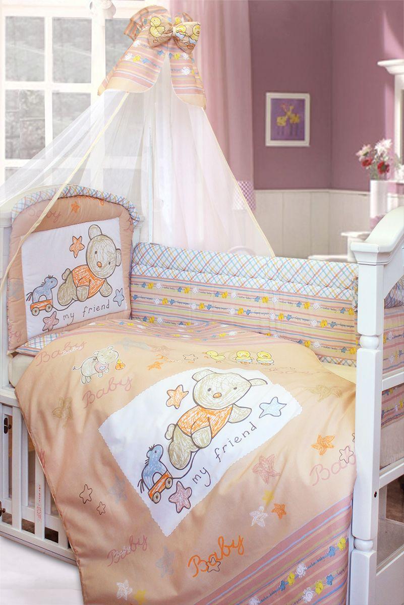 Золотой Гусь Комплект белья для новорожденных Zoo Bear 7 предметов цвет бежевый125Комплект белья Золотой Гусь выполнен из хлопка с забавным рисунком мишки. В наборе:- балдахин-сетка с оборкой и бантом; - одеяло стеганное; - пододеяльник с печатным рисунком на внешней стороне; - подушка; - наволочка однотонная; - бампер из 4 частей с завязками (изголовье декорировано рисунком и отстрочкой, которая придает дополнительный объем и поддерживает форму бортиков: оборотная сторона бампера однотонная); - простыня на резинке однотонная. Рекомендован на детскую кроватку размером 120х60 см.