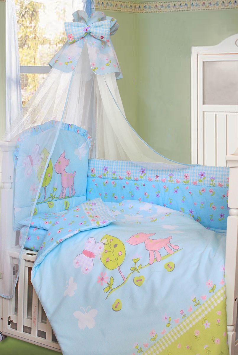 Золотой Гусь Комплект белья для новорожденных Little Friend 7 предметов цвет голубой126Комплект для детской кроватки из 7 предметов. Выполнен из хлопка (бязи) с забавным рисунком олененка. В комплекте: - Балдахин-сетка с красивой оборкой и бантиком; - Одеяло стеганное; - Пододеяльник с печатным рисунком на внешней стороне; - Подушка; - Наволочка; - Бампер из 4 частей с завязками (изголовье декорировано оборкой-рюшей иотстрочкой, которая придает дополнительный объем и поддерживает формубортиков; внешняя сторона бампера однотонная);- Простыня на резинке. Бампер с печатным рисунком на изголовье, декорирован оборкой-рюшей. Рекомендован на детскую кроватку размером 120х60 см.
