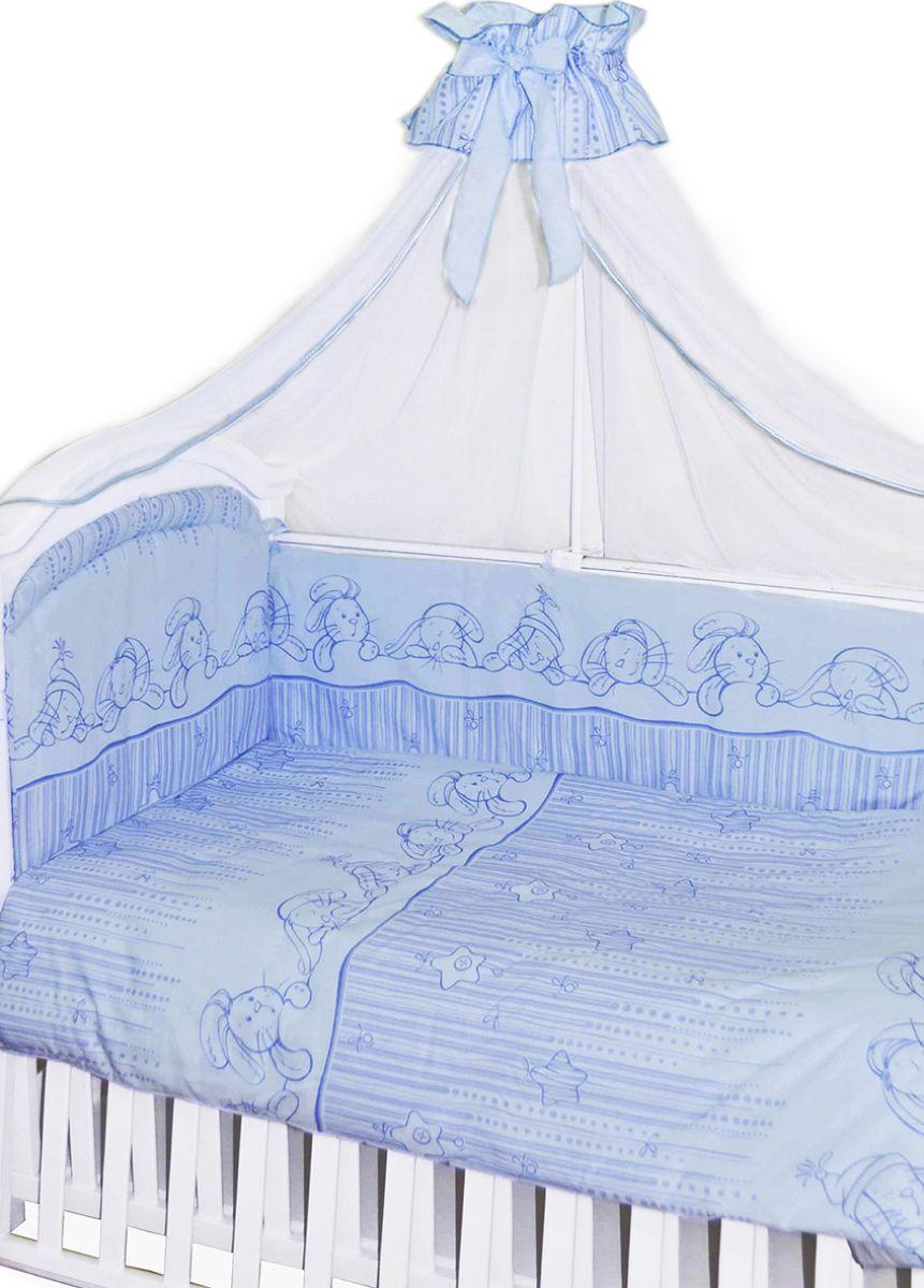 Золотой Гусь Комплект белья в кроватку Зая-Зай 7 предметов цвет голубой 60 см x 120 см золотой гусь комплект белья в кроватку кошки мышки 7 предметов цвет голубой 60 см x 120 см