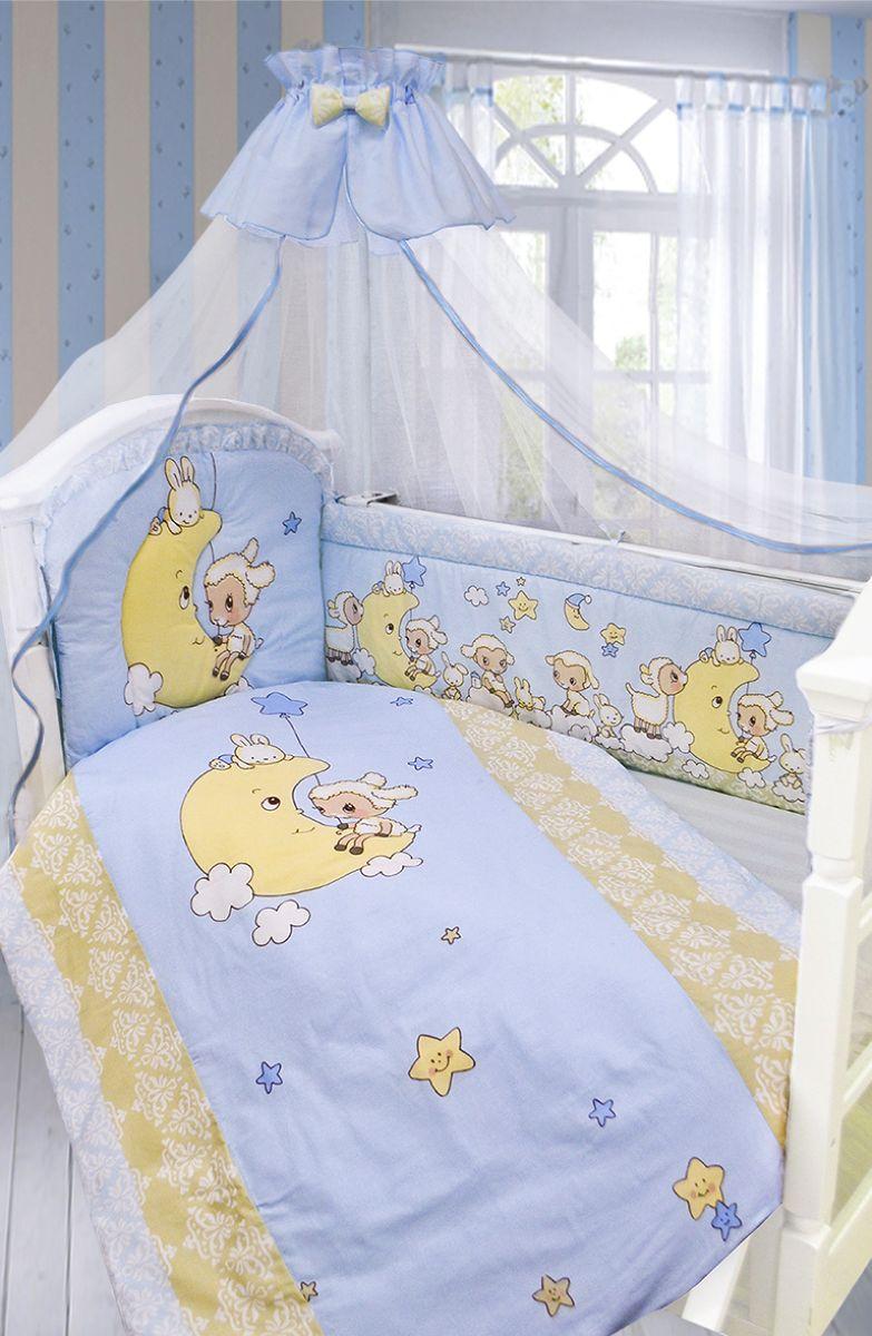 Золотой Гусь Комплект белья в кроватку Овечка на луне 7 предметов цвет голубой 60 см x 120 см золотой гусь комплект белья в кроватку кошки мышки 7 предметов цвет голубой 60 см x 120 см