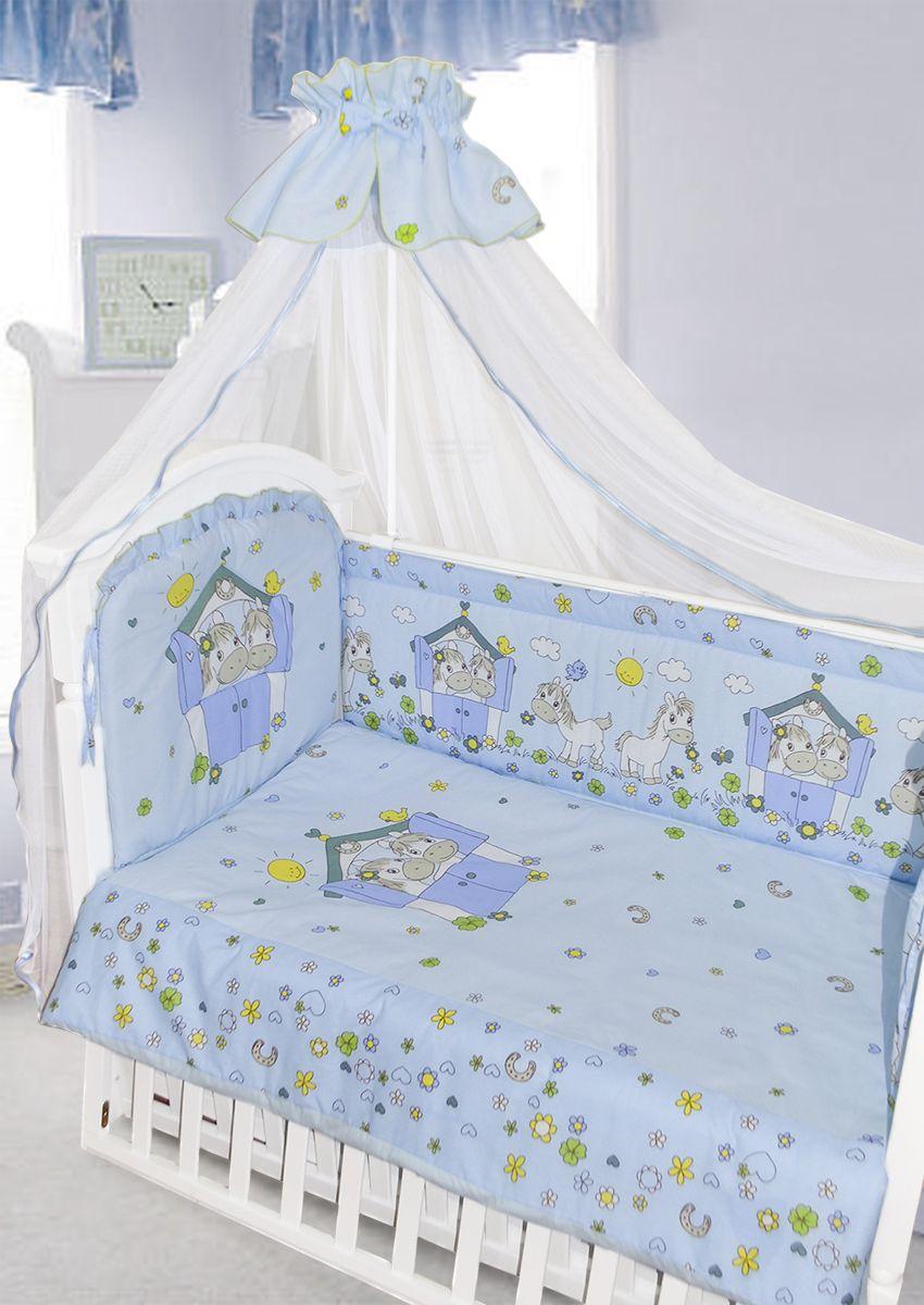 Золотой Гусь Комплект белья в кроватку Лошадки цвет голубой 7 предметов 60 x 120 см золотой гусь комплект белья в кроватку зая зай 7 предметов цвет голубой 60 см x 120 см