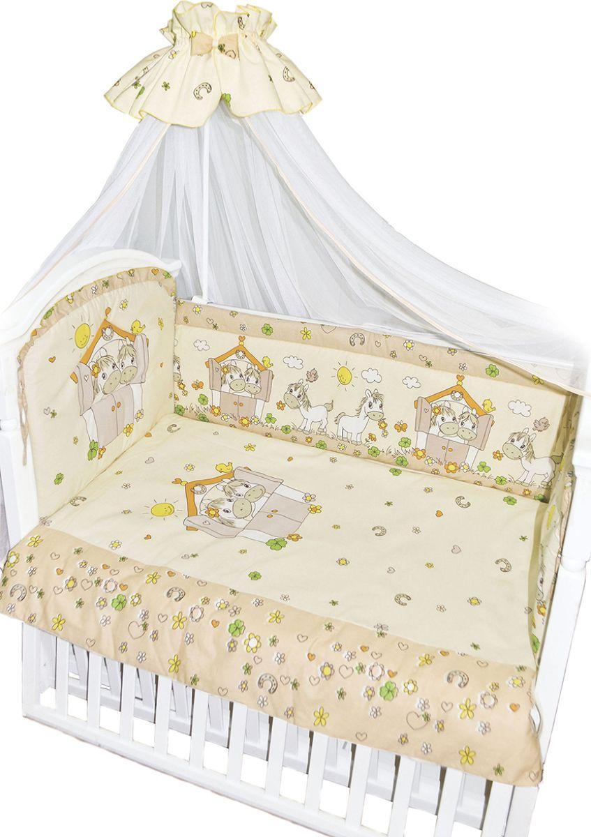 Золотой Гусь Комплект белья в кроватку Лошадки цвет бежевый 7 предметов 60 x 120 см