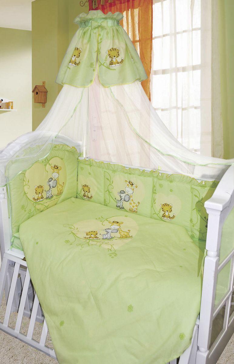 Золотой Гусь Комплект белья в кроватку Сафари 7 предметов цвет зеленый 60 см x 120 см золотой гусь комплект белья в кроватку кошки мышки 7 предметов цвет голубой 60 см x 120 см