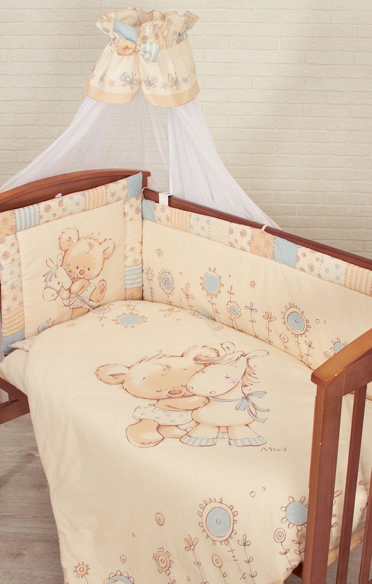 Золотой Гусь Комплект белья в кроватку Mika 7 предметов цвет бежевый голубой 60 см x 120 см