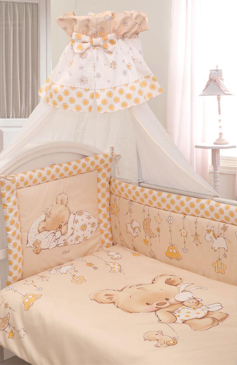 Золотой Гусь Комплект белья в кроватку Mika сатин 7 предметов цвет молочный 60 см x 120 см111Комплект в кроватку из 7 предметов. Коллекции Mika выполнен из сатина, который обладает многими замечательными качествами. Он мягкий, шелковистый и прочный, а благородный блеск ткани придает изысканность и очарование милым дизайнам Mika. В комплект входит - Балдахин-сетка с оборкой и бантом. Одеяло стеганное. Пододеяльник с печатным рисунком на внешней стороне. Подушка. Наволочка. Бампер из 4 частей с завязками, декорирован печатным рисунком и отстрочкой, которая придает дополнительный объем и поддерживает форму бортиков. Оборотная сторона бампера однотонная. Простыня на резинке. Рекомендован на кровать 120х60.Фирменная крафт-коробка служит достойным оформлением комплекта.